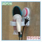 Étagère blanche de sèche-cheveux d'ABS de Mouted de mur avec la cuvette d'aspiration en caoutchouc de silicones