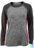 Beaux T-shirts dernier cri de Raglan de chemise de collet d'équipage de femmes longs (A472)