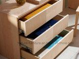 Poitrine plaquée par bouleau en bois moderne de 3 tiroirs (N1015-3A)