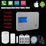 Système d'alarme à la maison sans fil de cambrioleur de garantie de bureau de Chambre de l'affichage à cristaux liquides GM/M SMS Autodial
