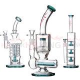 L'acquazzone doppio del tubo bianco crema in linea filtra la coppa esaltante Bubb di colore del tabacco del riciclatore di alta qualità dei tubi di vetro di acqua della ciotola del mestiere del portacenere dei tubi di vetro alti di vetro