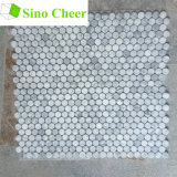 Moeda de um centavo branca do mosaico de Carrara redonda para a telha de revestimento