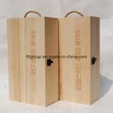 Caixa de vinho de madeira maciça personalizada de baixo custo com logotipo personalizado