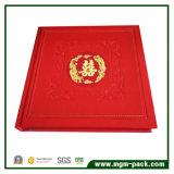 Rectángulo determinado de la joyería de cuero roja de la alta calidad para la boda