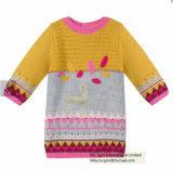 Robe tricotée par texture de chandail de gosses pour des filles