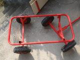 Vagão de madeira do carro de jardim para o miúdo com rodas pneumáticas