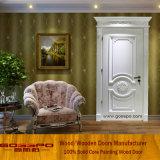Projetos de mogno da porta da madeira contínua da pintura branca (GSP2-079)