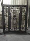 家のための緩和されたガラスが付いているカスタムサイズの鉄の出入口