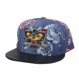 Blume Fabric Snapback Hat mit dem Leather Rand, Zoll-gebildet Embroidery (GK15-L0001)
