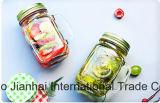 tarro de masón de la botella de cristal 500ml con la maneta y las tapas