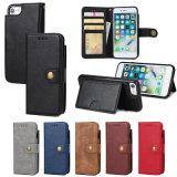 保護シェル6sフリップ札入れのiPhone 8のための分割されたカードの携帯電話の革箱