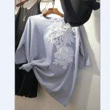 여자 레이스 꽃을%s 가진 면에 의하여 세탁되는 중앙 소매 t-셔츠