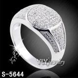 O micro 925 de prata pavimenta o anel do homem do ródio (S-4625, 4952, 5634/38/44/52)