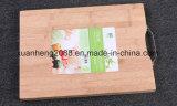 Placa de corte de bambu com carne e vegetabéis duráveis com alça de metal