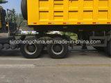 HOWO 6X4 트랙터 헤드와 반 팁 주는 사람 트럭 트레일러