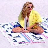 ふさのトリムが付いている卸し売り円形の円のビーチタオル