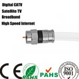 1m Meter White Nickel Plated Connectors Rg6u Coaxial Cable (SY099)