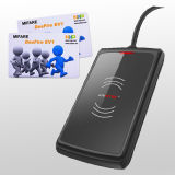 Soporte medio de escritorio androide ISO14443A, DESFire EV1, MIFARE del programa de escritura del programa de lectura del rango RFID de USB/RS232 13.56MHz NFC más
