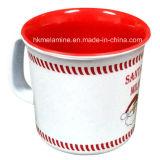 De Mok van de Koffie van de Melamine van twee Toon met het Embleem van de Kerstman (CP074)