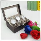 Cas d'exposition fabriqué à la main en cuir de montre d'unité centrale avec 3 coussins