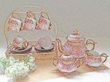 Insieme di tè di ceramica di stile europeo con il fiore placcato (LR-0109)