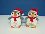 Grande giocattolo della peluche del pinguino degli occhi di natale con il cappello