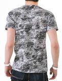T-shirt d'hommes de collet du coton V de mode d'impression d'écran de tissu de teinture