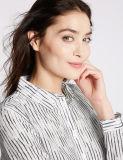 綿の女性のための絹のしまのある長い袖のワイシャツ