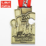3D Douane van het Afgietsel van de Matrijs herdenkt de Antieke Gouden Medaille van de Toekenning van het Spel van het Ras van de Marathon van de Sport van het Metaal van de Herinnering 5K 10K met Lint