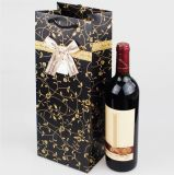 Saco do presente do papel do saco do vinho do papel de arte preta