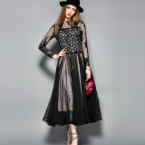 Schwarzes reizvolles Spitze-Kleid für Frauen-Partei-Kleid