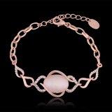 Schönes 18k Rose Goldarmband-elliptisches hängendes Charme-Kristallopalarmband