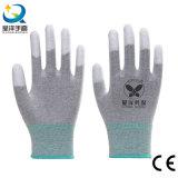 Перчатки ESD с PU конца перста покрыли перчатки работы безопасности (P1007)