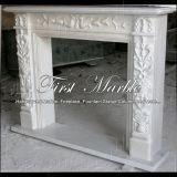 Cheminée blanche Mfp-142 de Carrare de granit en pierre de marbre d'intérieur