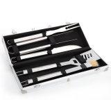Aus rostfreiem Stahl BBQ Tool Set mit Aluminum Storage Fall 5-Piece