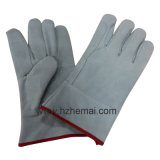 I guanti di cuoio spaccati della doppia mucca della palma mettono il guanto in cortocircuito del lavoro della saldatura
