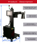 marcador do laser da fibra de 30W Ylpf-30qe para a tubulação plástica de PP/PVC/PE/HDPE, dos encaixes metal não