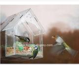 Alimentador acrílico desobstruído do pássaro do indicador com copos de Sucion