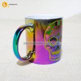 dunkle Streuung-Kaffeetasse des Öl-11oz mit Abziehbild