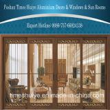 Portelli scorrevoli di alluminio del grano di legno tradizionale con il comitato di vetro decorativo