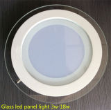 LED Round Panel Light 12W, lâmpada de teto de vidro