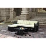 Jogo ao ar livre do sofá da mobília do Rattan do preto da proteção de tempo