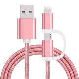 2 in 1 het Laden en Kabel Sync Nylone Geïsoleerde USB voor iPhone, de Telefoon van Samsung