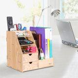 Rectángulo de almacenaje de madera de la oficina de DIY con el sostenedor D9116 del compartimiento