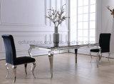 ホーム使用の金属の家具のための黒いガラス上のダイニングテーブル