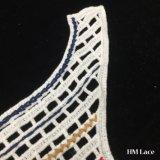 a franja brandamente densamente feita malha colorida encantadora do laço do aparamento do Neckline do Crochet do algodão de 42*30cm com redes cheias e eu damos forma para a senhora Blusa Acessório Laço Guarnição Hm209