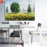 Картина маслом взгляда поля сельской местности нового зеленого ландшафта мирная