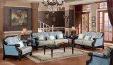 Sofà di legno classico del tessuto per l'insieme della mobilia della casa dell'oggetto d'antiquariato del salone