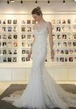 Mermaid 2017 Кореи 3 Bridal слоя платья венчания с украшением цветка