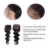 Chiusura peruviana naturale superiore all'ingrosso del merletto dei capelli umani dell'onda 100% del corpo della parte